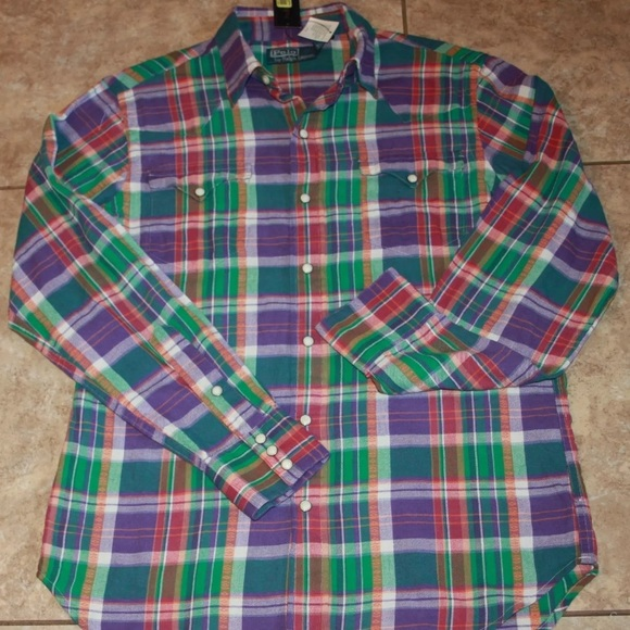 Polo by Ralph Lauren Other - $125 Polo Ralph Lauren Plaid Western Shirt Small
